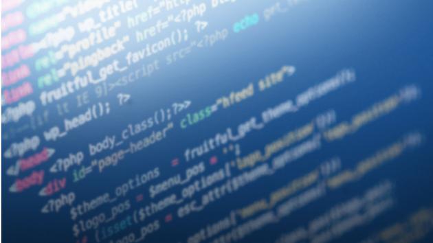 Nahaufnahme eines Computermonitors mit einem Text in Programmiersprache