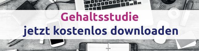 In weißtransparentern Bannder der Schriftzug: Gehaltsstudie jetzt kostenlos downloaden. Darunter eine Draufansicht von einem Schreibtisch auf dem Büroartikel liegen.