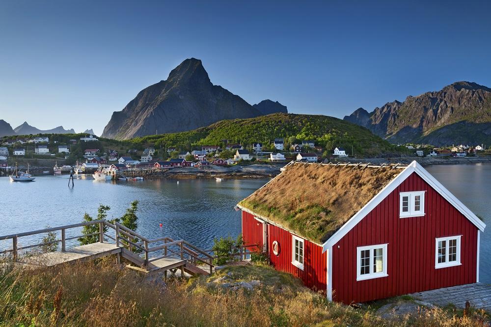 Haus auf den Lofoten in Norwegen