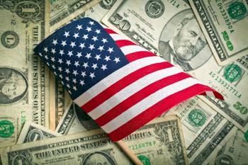 USA Flagge und Dollar